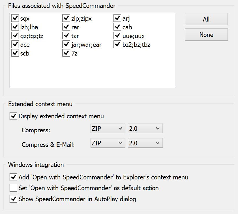 Settings to integrate SpeedCommander into Windows